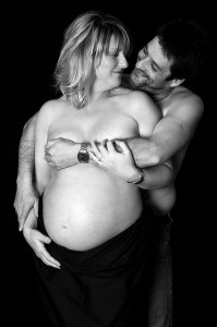 Couple maternity photograph in studio Cornwall