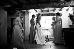 Bride and bridesmaids getting ready for wedding in Derbyshire