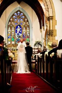 Bride and groom church wedding