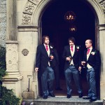 Bovey Castle Wedding groom and bestmen outside entrance before the wedding ceremony