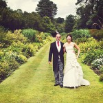Bovey Castle Wedding couple in gardens by Devon wedding photographer Michael Marker