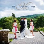 Bride and groom on the terrace at Bovey Castle after the wedding ceremony