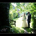 Bride and groom in grounds of Glazebrook House Hotel near Plymouth
