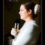 Hotel Endsleigh bride getting ready and glass of champagne
