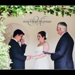 Couple exchanging vows at Devon weddign at Hotel Endsleigh