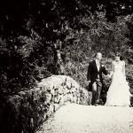 Bovey Castle Wedding couple on the bridge in the gardens