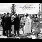 Bovey Castle wedding photography of bride and groom and guests on the terrace