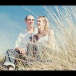 Couple on Saunton Sands sand dunes for engagement photography session