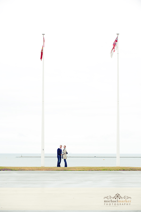 Engagement couple on Plymouth Hoe, devon