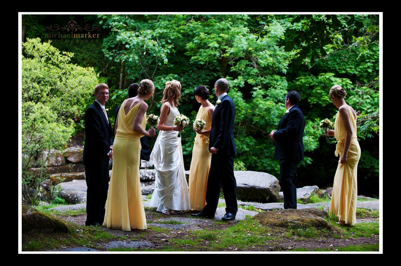 Bridal party next to stream on Dartmoor Devon