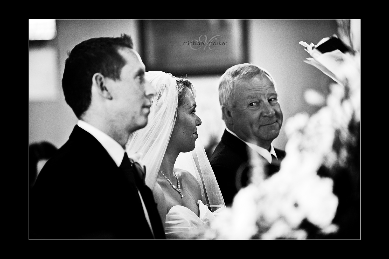 Bride and father of the bride at Church Wedding in Devon