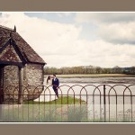 Bride and groom at Bathing House at Pentillie Castle wedding in Cornwall