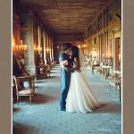 Bride & groom in long gallery at Syon Park wedding in London