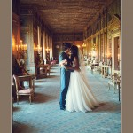 Bride & Groom kissing in Syon Park Long Gallery