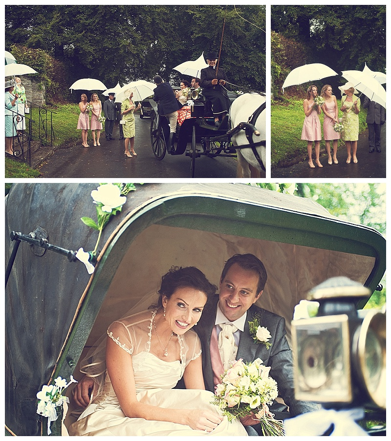 Devon bride and groom in horse and carriage
