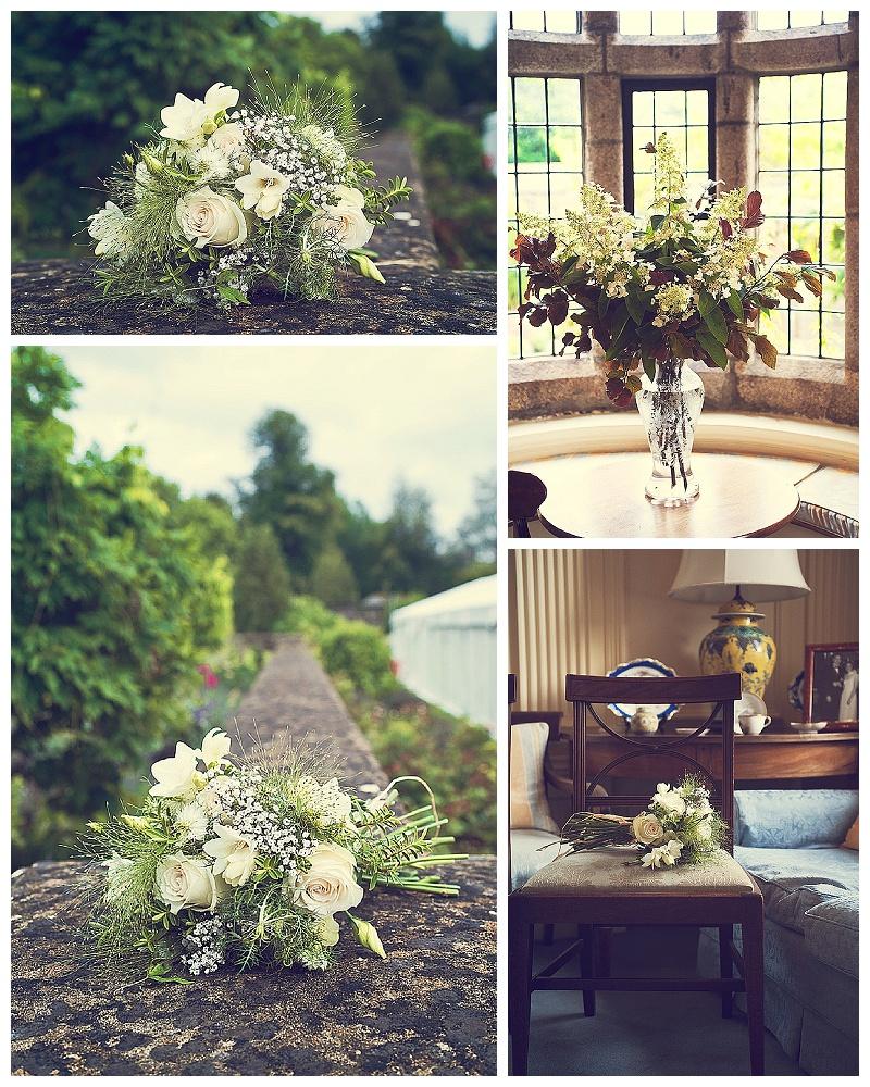 Beautiful weddign flowers and bouquet at Devon wedding