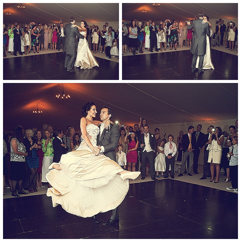 Bride and groom first dance at wedding in Devon