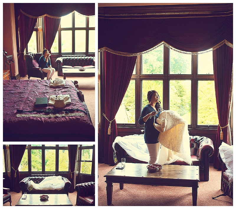 Bride getting ready at Orchardleigh Country House in Somerset