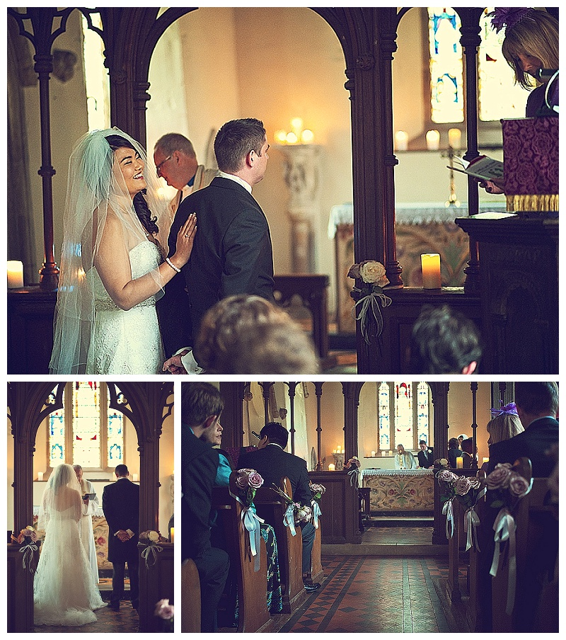 Wedding ceremony at chapel at Orchardleigh House in Somerset