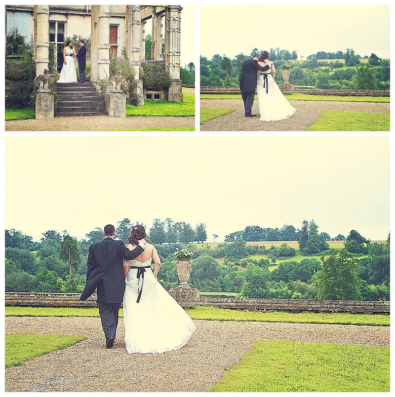 Bride and groom in the grounds of Orchardleigh House