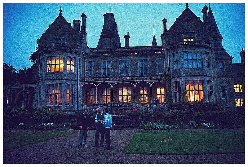 Orchardleigh House wedding in evening