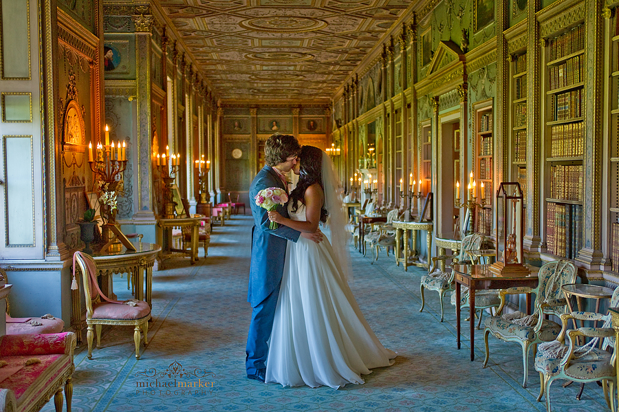 London Wedding Couple kissing in Syon Park Long Gallery
