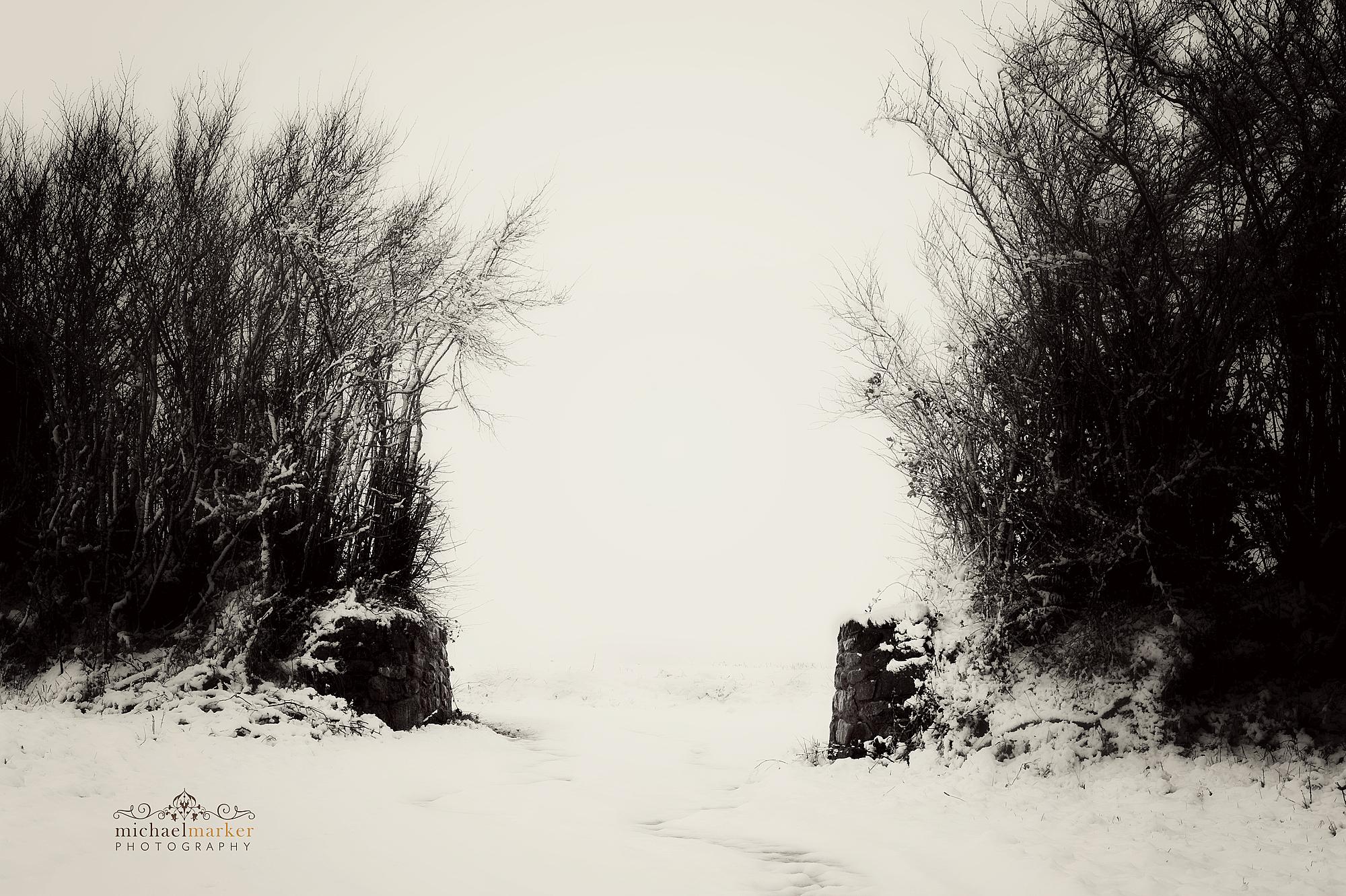 Snowy rural gateway in rural Devon, Devon snow photographs