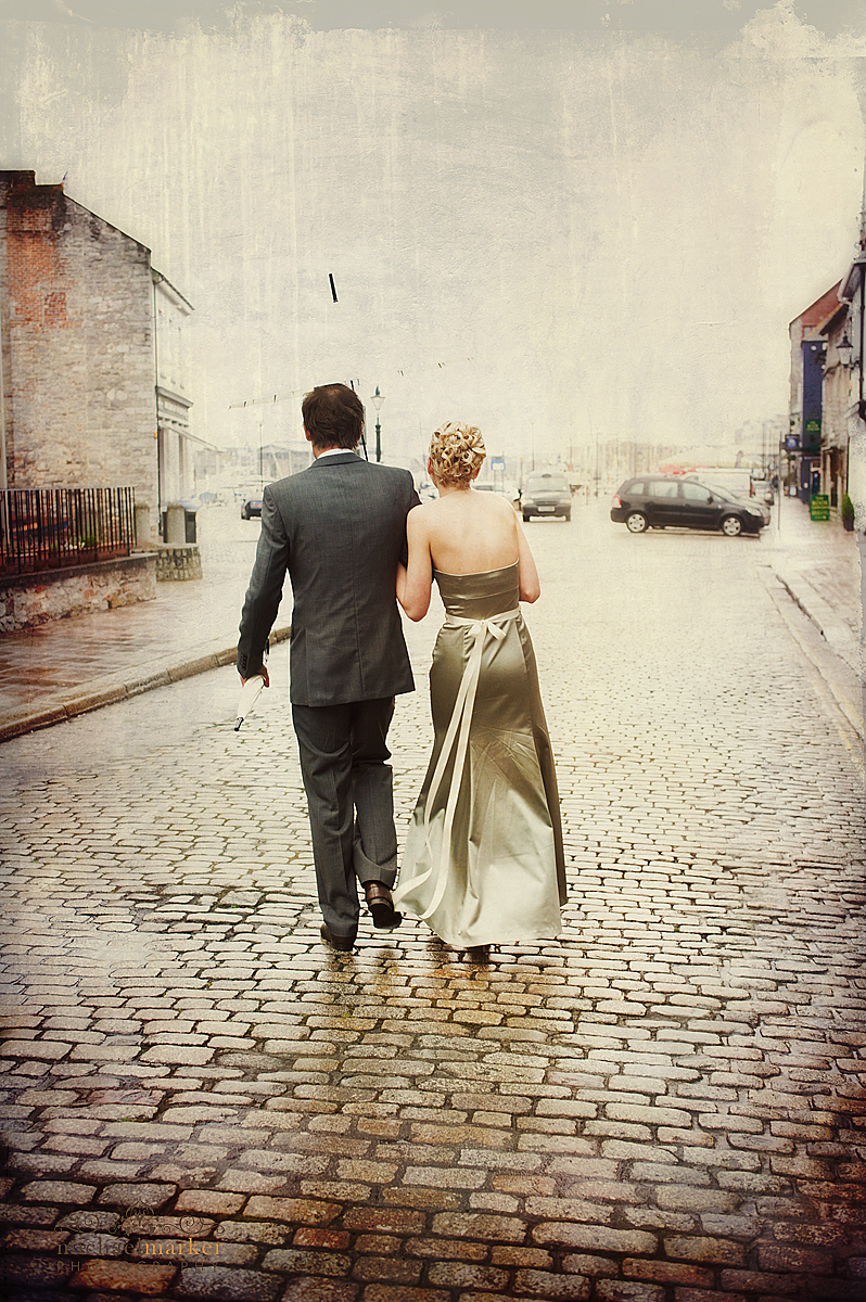 Wedding couple on Barbican in Plymouth