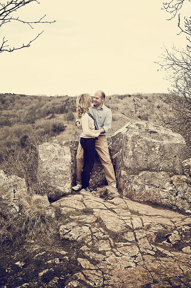 Engaged couple photographed at Gheddar Gorge in Somerset