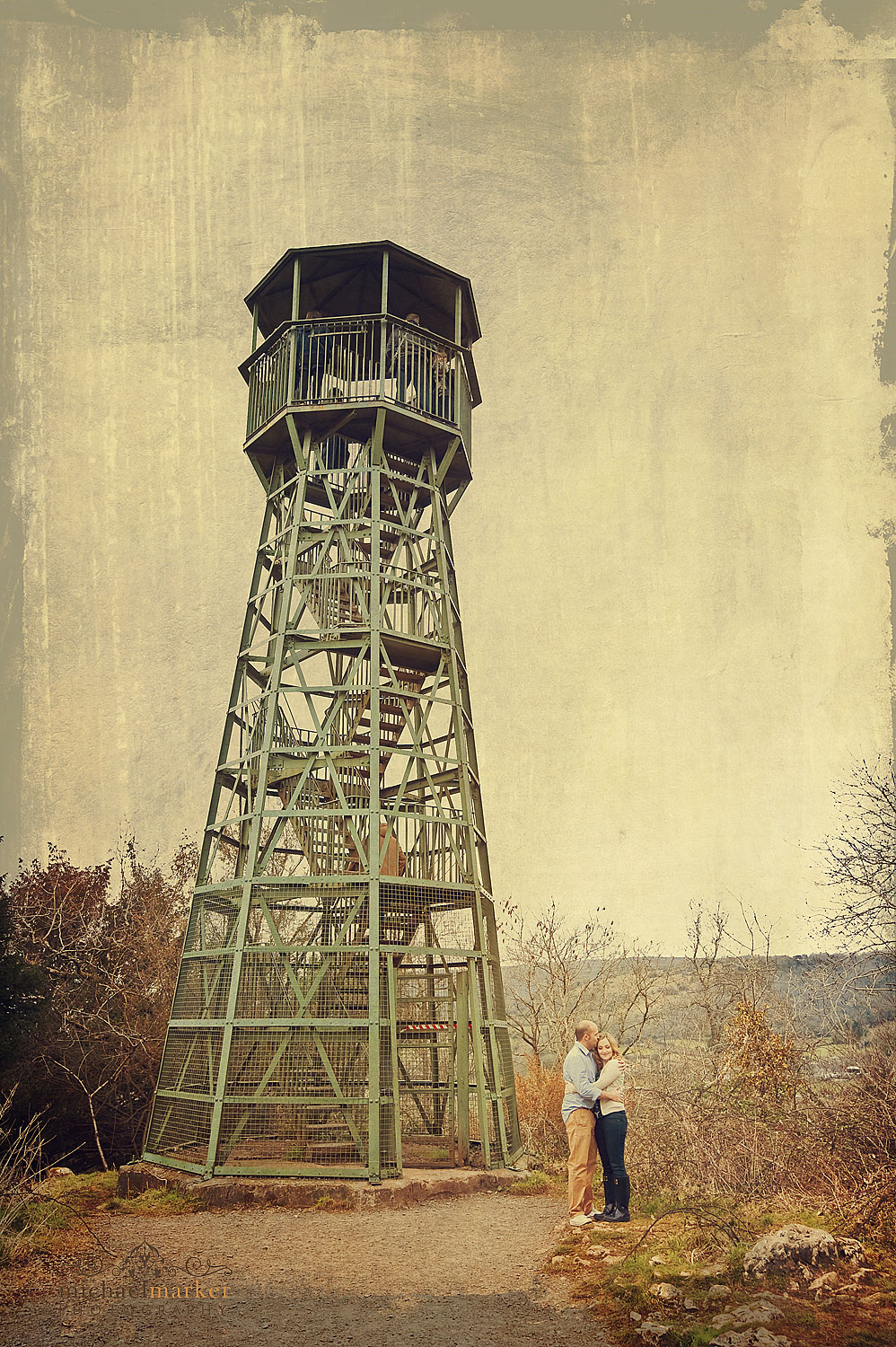 Engagement shoot couple at Cheddar lookout tower