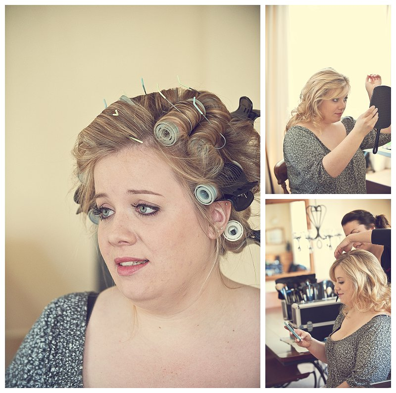 Bride getting ready with hair and make up in Devon