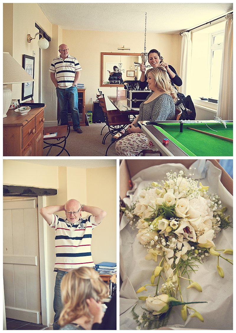 Father of the bride and flowers getting ready at Devon wedding