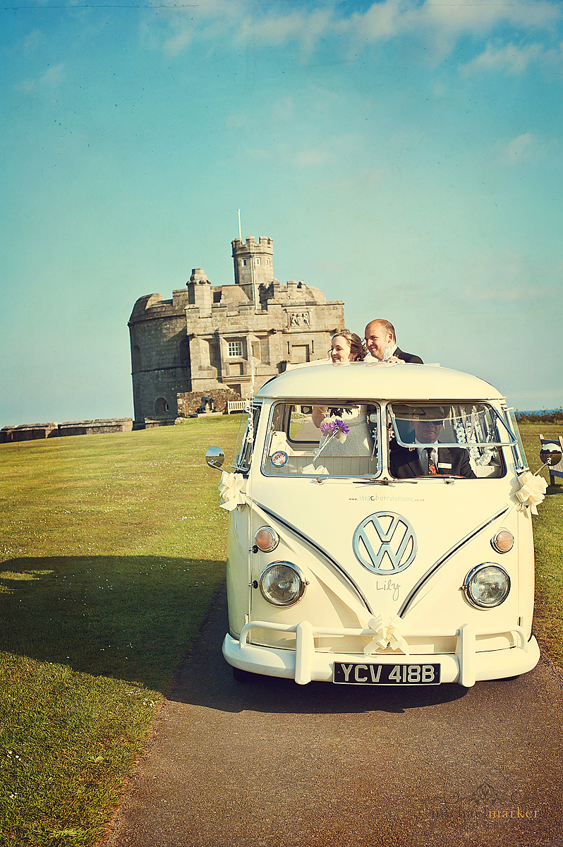 Campervan at Pendennis Castle wedding in Cornwall
