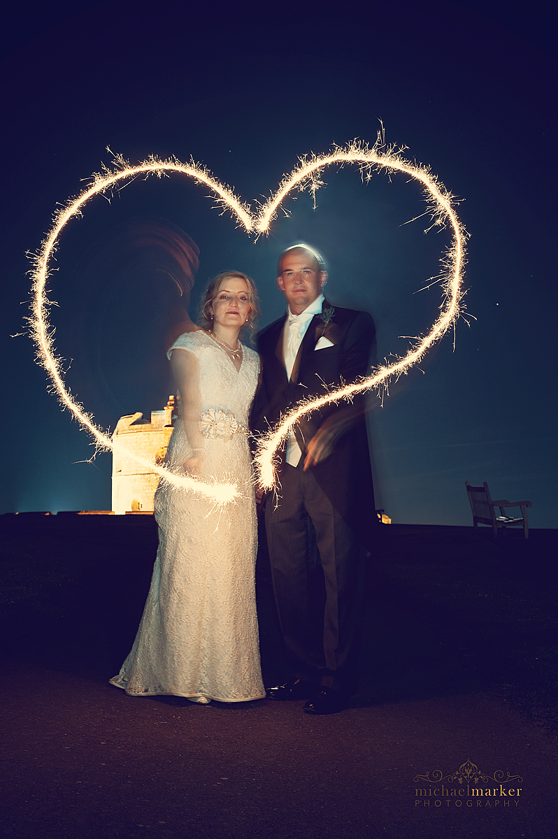 Falmouth wedding sparklers creative photograph of heart shape