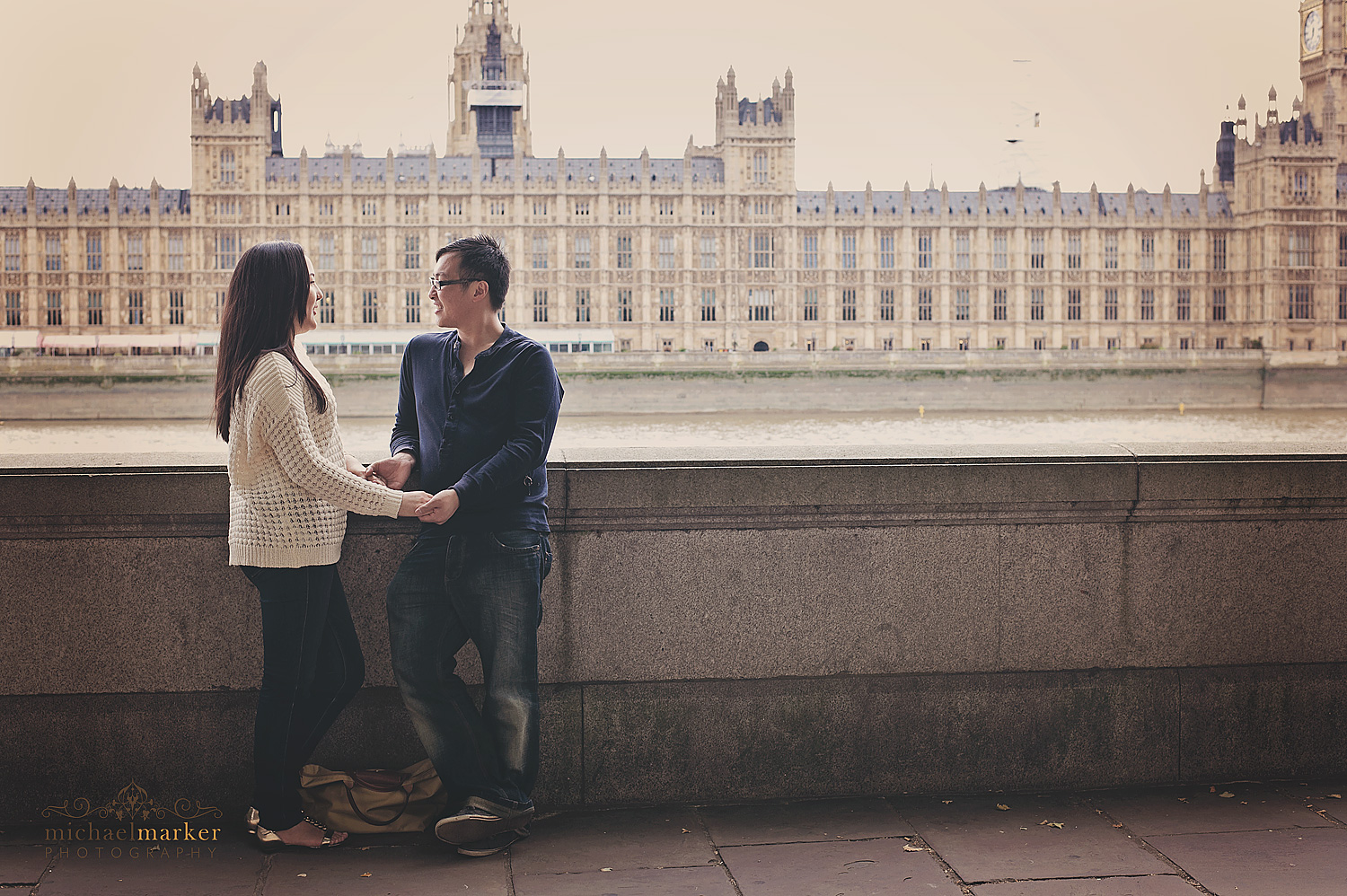 Loving couple in front of Big Ben London