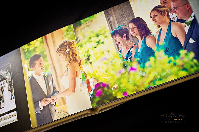 Colourful inside pages from Dorset wedding album