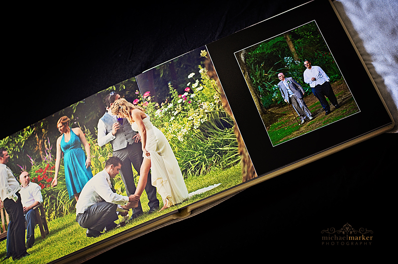Dorset wedding album pages of bride and groom