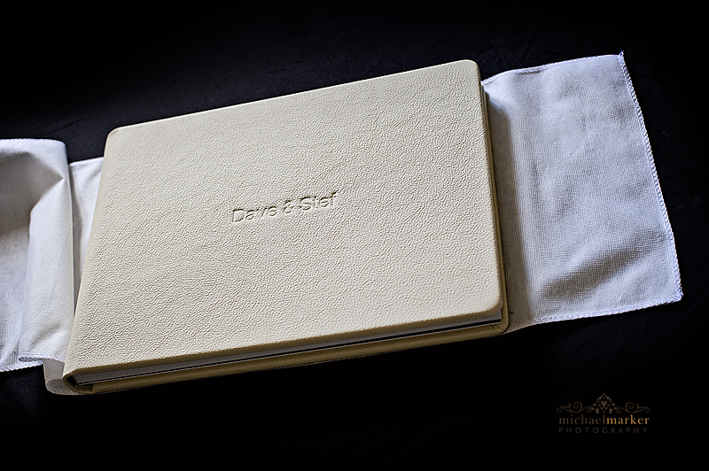 Leather cover of lGraphistudio wedding album  by Dorset wedding photographers