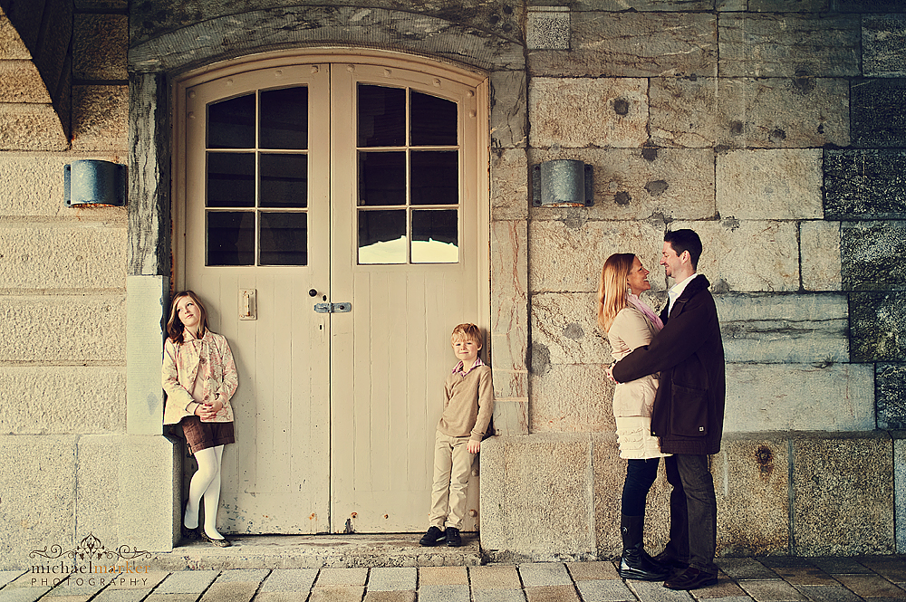 Autumn family portrait at Royal William Yard in Plymouth
