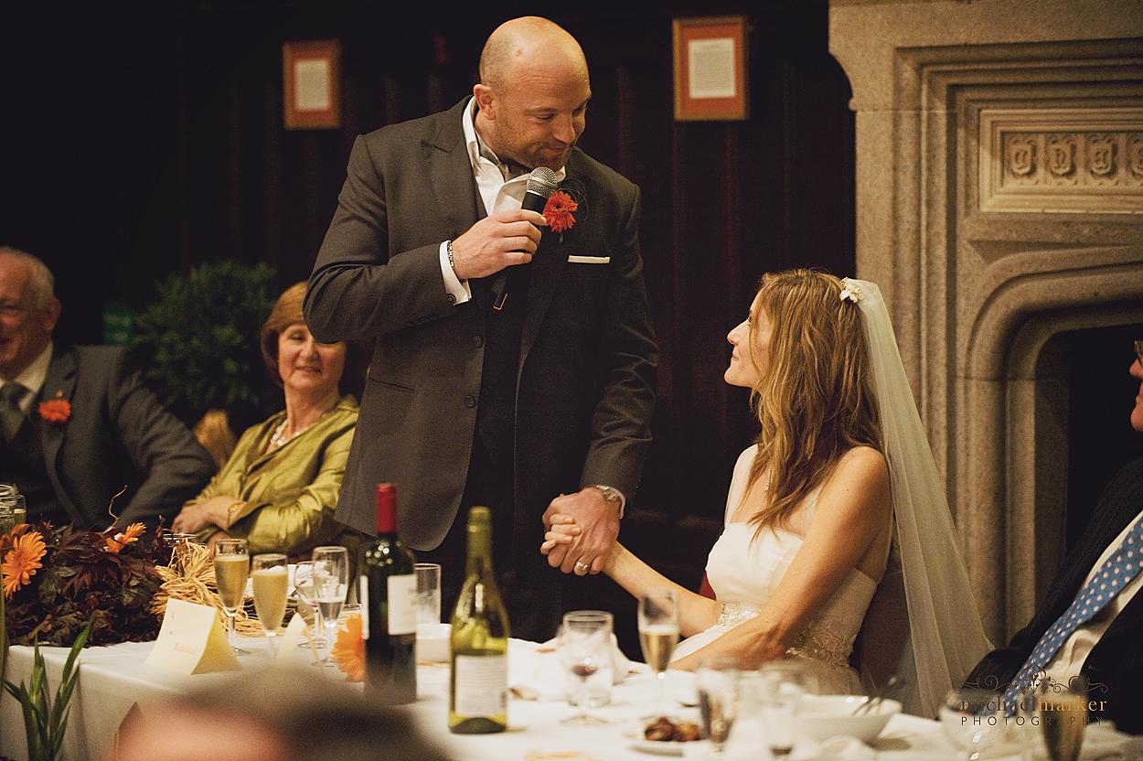 Groom's speech to bride during Tavistock wedding in Devon