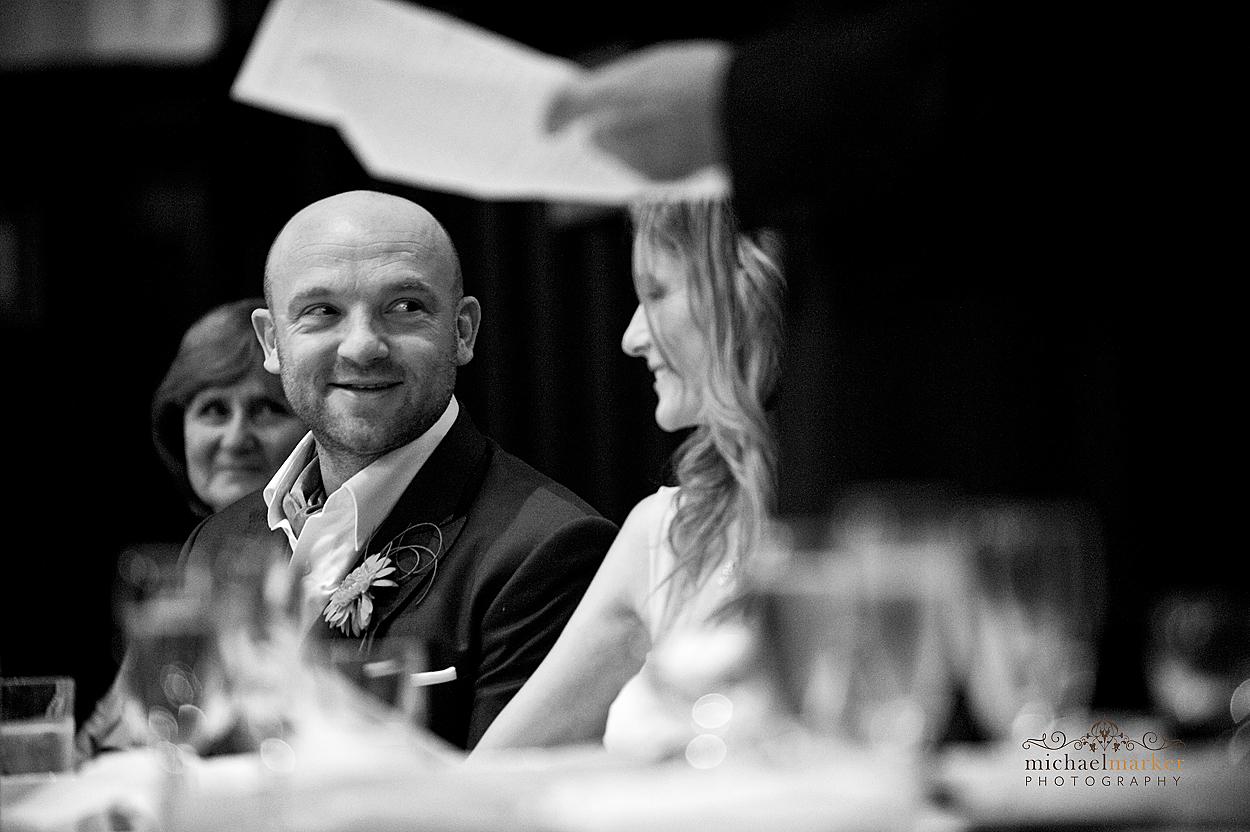 Loving look between bride and groom at Devon wedding