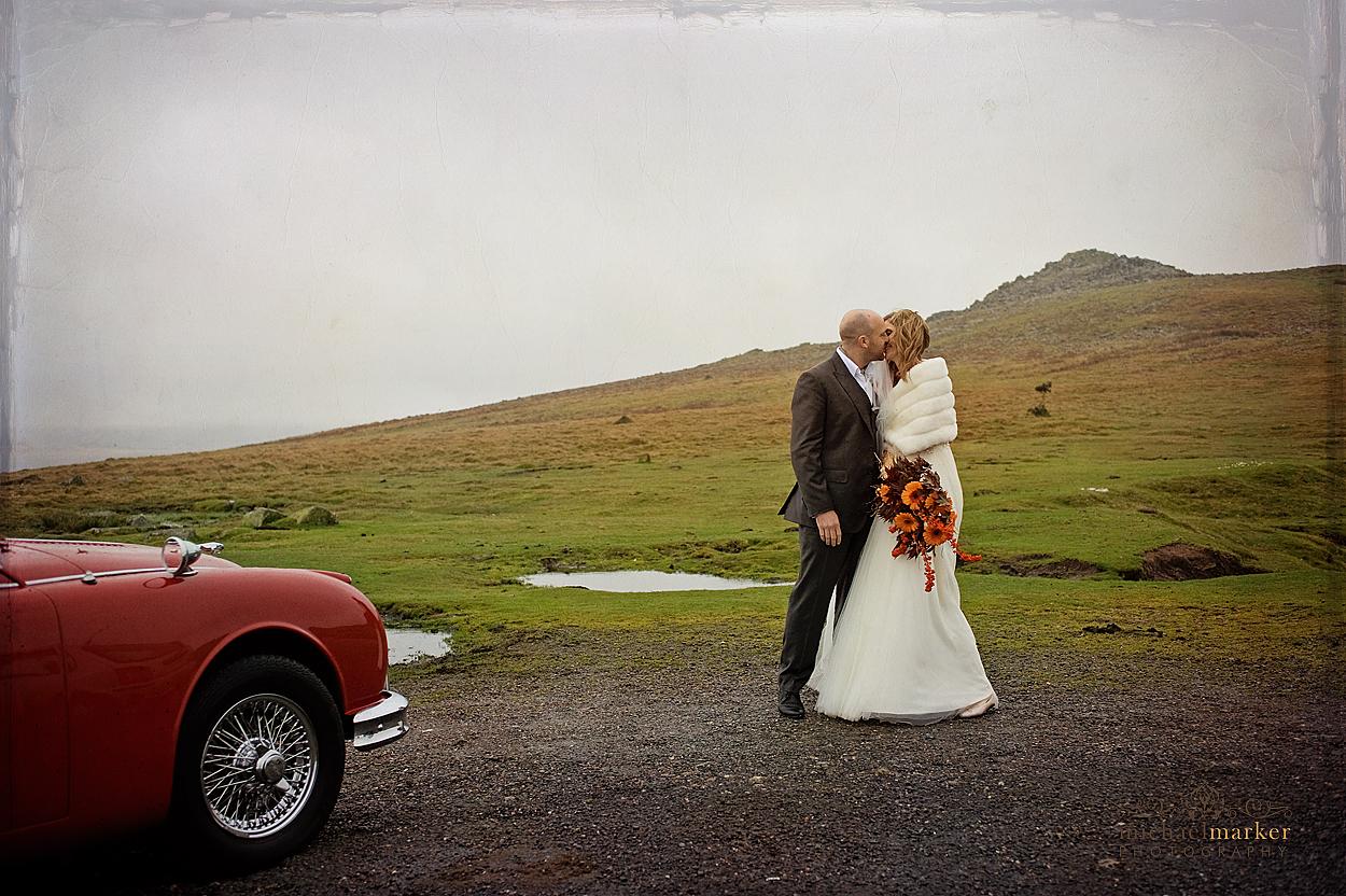 wedding couple photographs on Dartmoor Tor