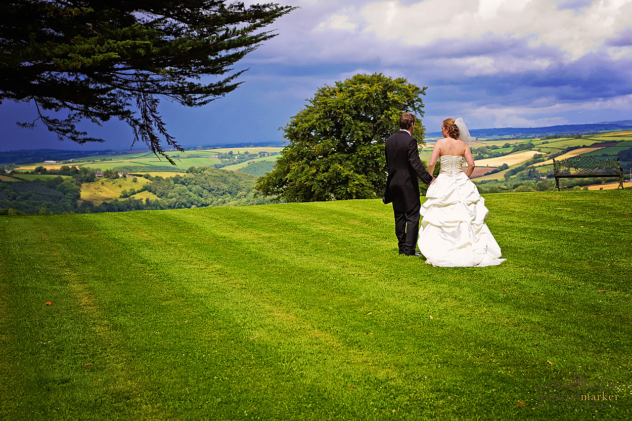 Wedding couple on lawns of Northcote Manor in Devon