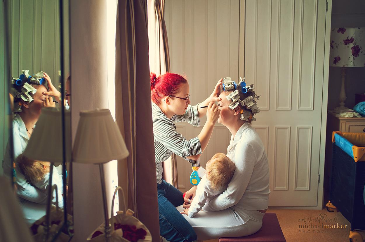 Brides-make-up-on-Devon-wedding-day