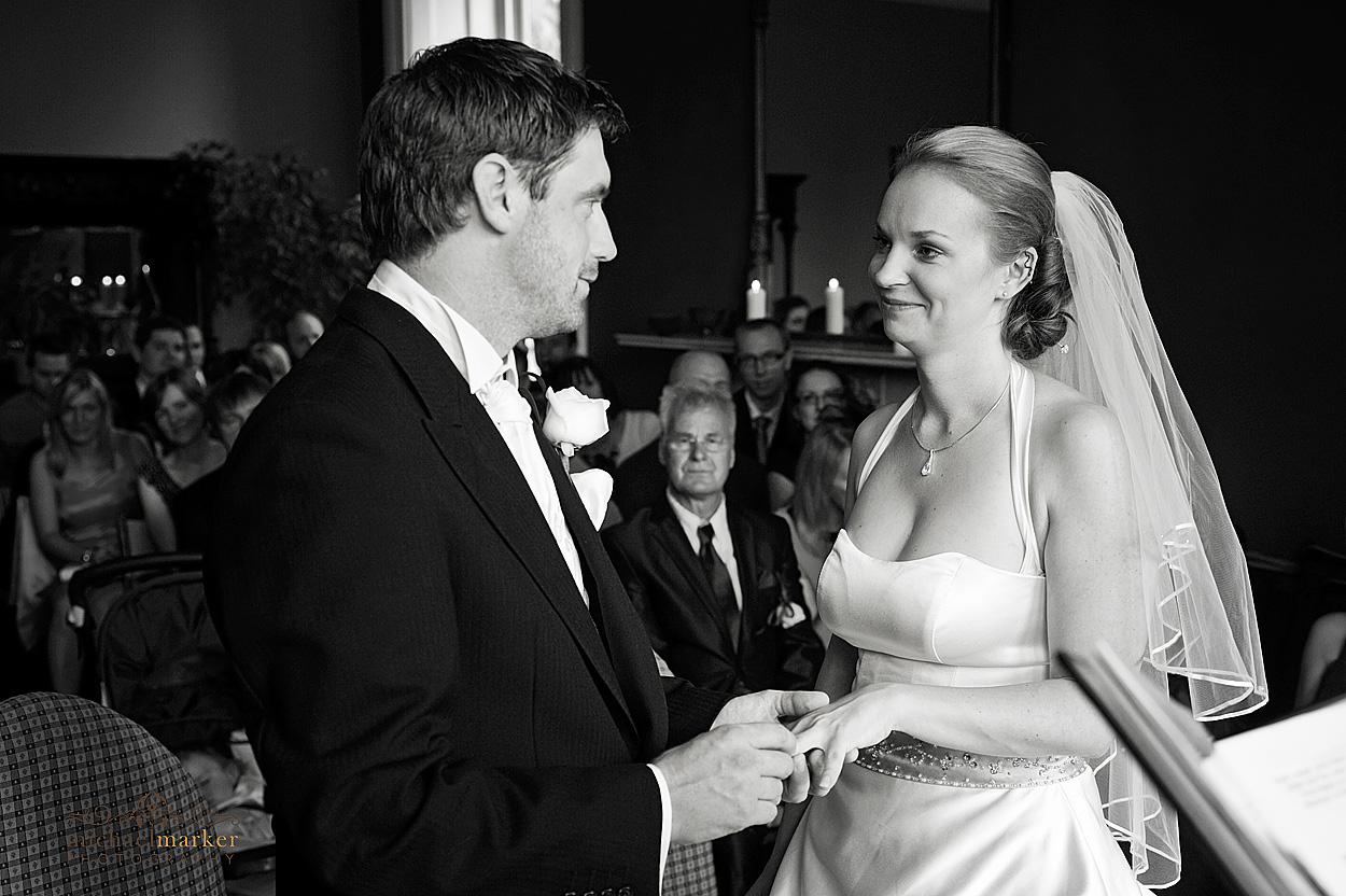 Exchanging vows at Northcote wedding in Devon