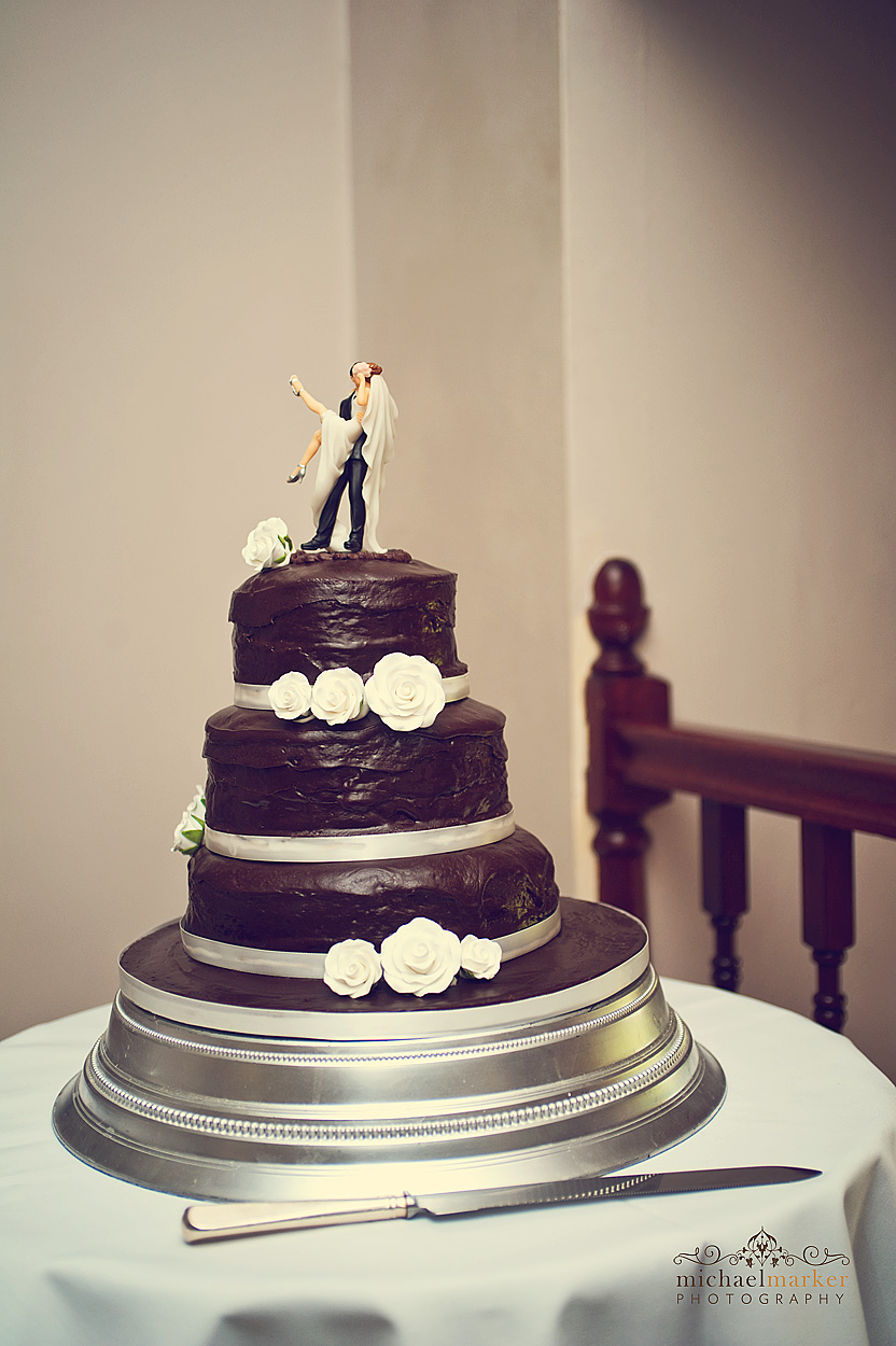 Chocolate wedding cake at Northcote Manor wedding