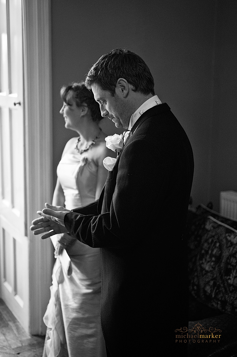Wedding day nerves by groom at Northcote Manor wedding in Devon