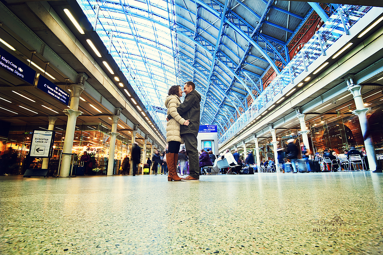 Engagement shoot of couplein London at St Pancras station