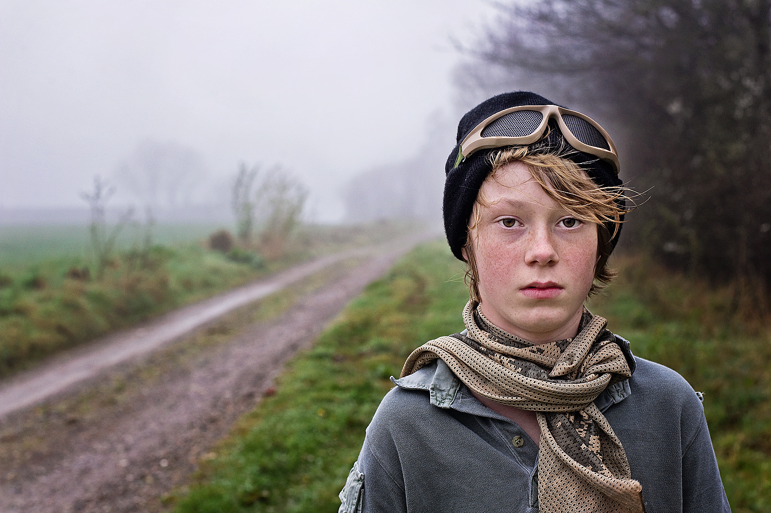 Portrait of boy in the Devon mist