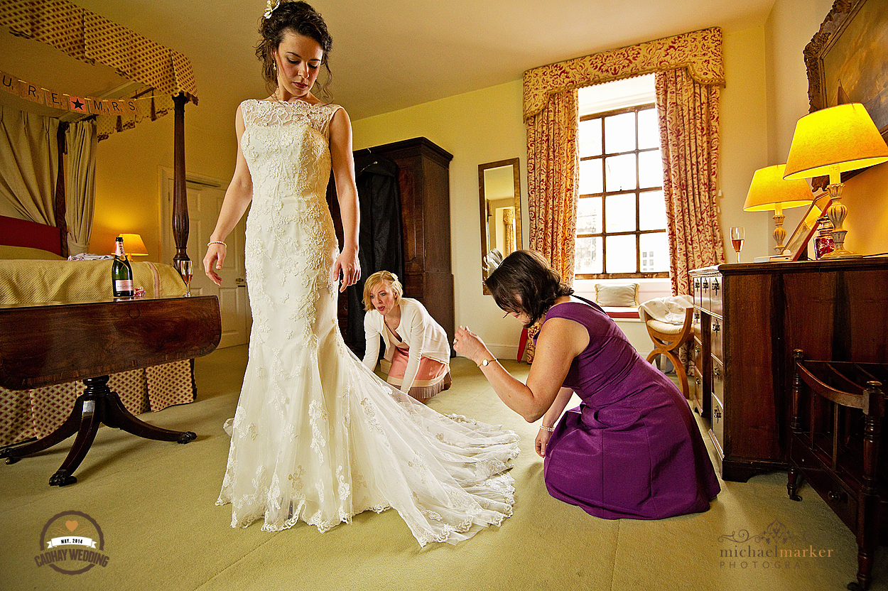 Bride getting ready at Cadhay Manor wedding in Devon